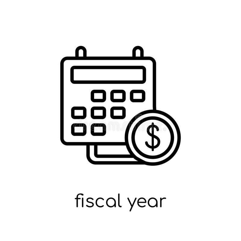 Fiscal year icon from Fiscal year collection. Fiscal year icon. Trendy modern flat linear vector fiscal year icon on white background from thin line Fiscal year royalty free illustration