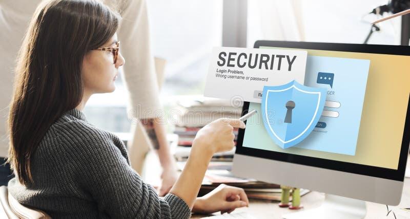 Fiscalização Concep da rede de dados da senha do acesso de sistema da segurança foto de stock