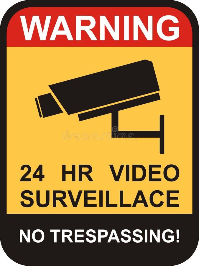 fiscalização do vetor e de câmera do CCTV amarelo ilustração stock