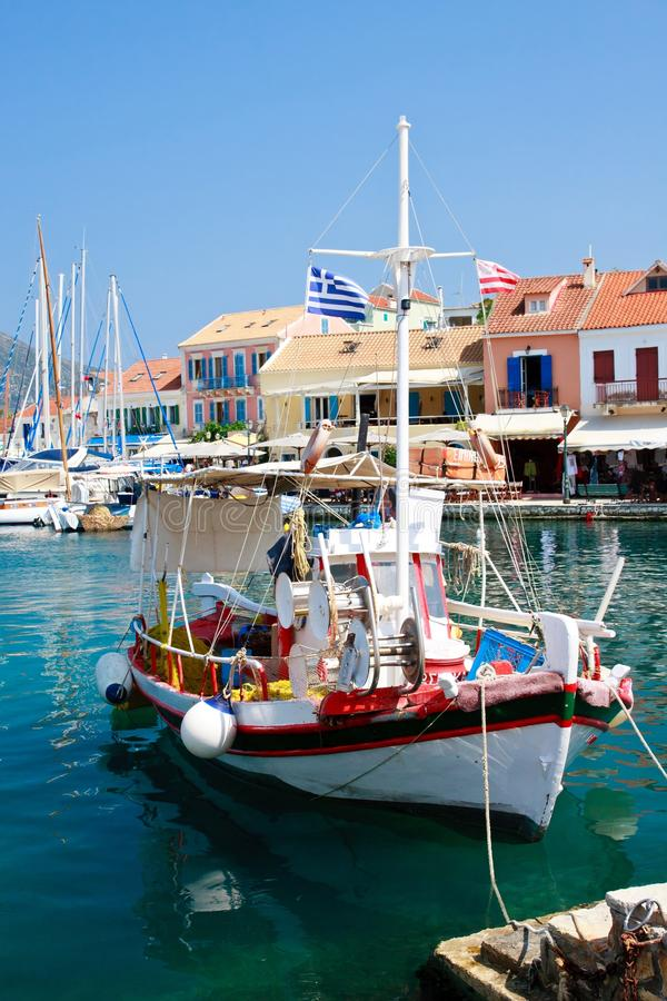 Fiscardo harbor village, Kefalonia royalty free stock photos