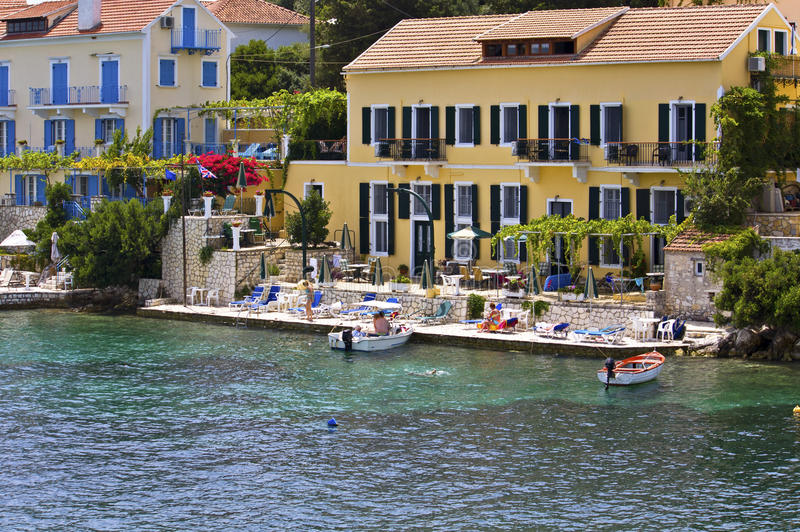 Fiscardo village at Kefalonia in Greece royalty free stock images