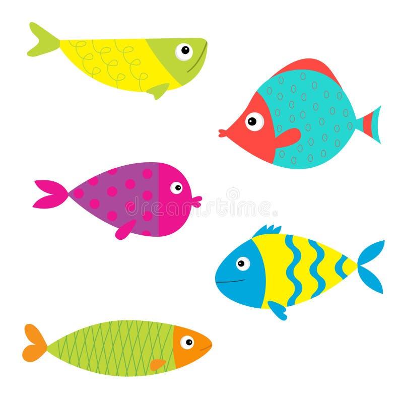 Fisch-Ikonen-Satz Getrennt Baby scherzt Sammlung Bunte Aquariumtiere der netten Karikatur Weißer Hintergrund Flaches Design vektor abbildung