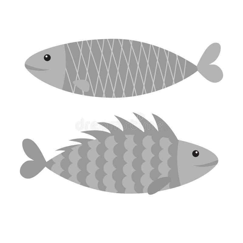 Fisch-Ikonen-Satz Iwashi Sardina pilchardus Nette Zeichentrickfilm-Figur Sardellenpilchard Wassertier Meeresflora und -fauna Flac lizenzfreie abbildung
