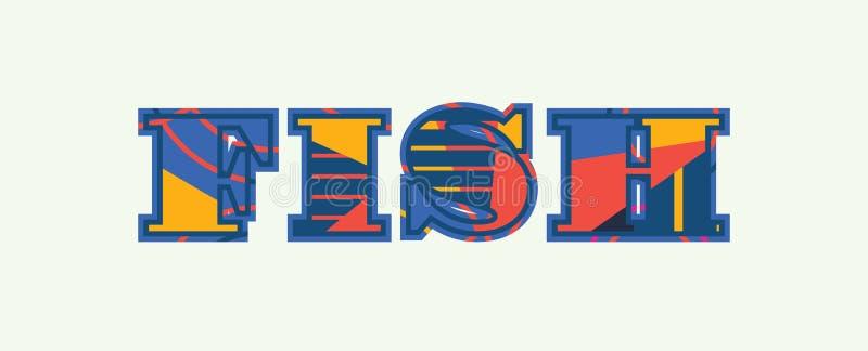 Fisch-Konzept-Wort Art Illustration lizenzfreie abbildung