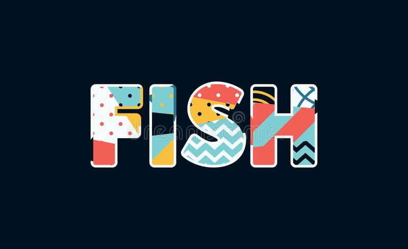 Fisch-Konzept-Wort Art Illustration stock abbildung