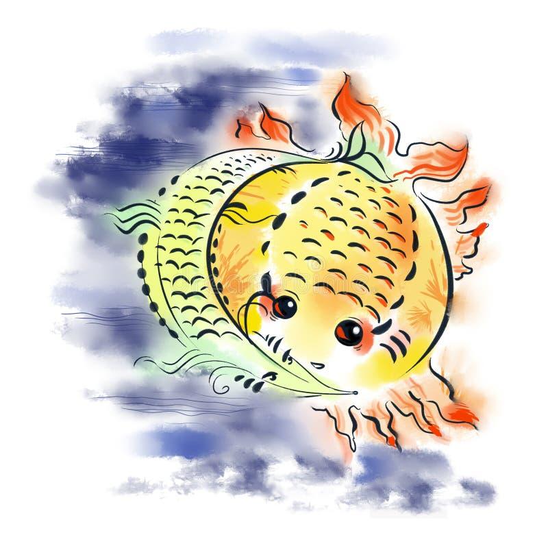 Fisch-Sonne und Fischmond lizenzfreie abbildung
