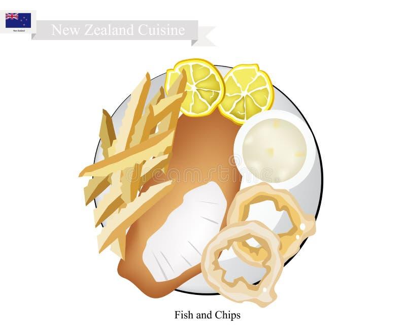 Fisch und, ein populärer Teller von Neuseeland vektor abbildung