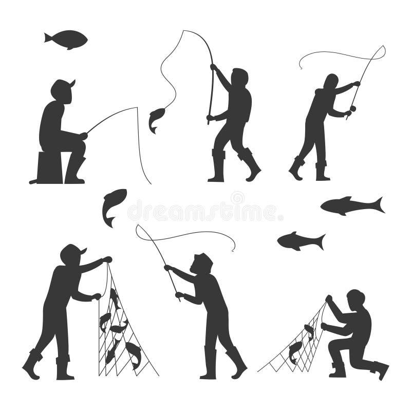 Fisch- und Fischerschattenbilder lokalisiert auf weißem Hintergrund vektor abbildung