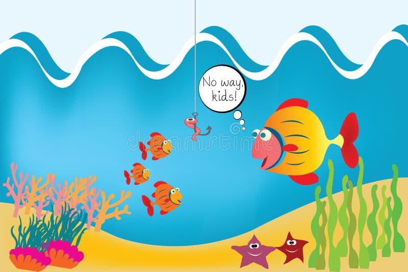 Fische auf der Unterseite des Meeres stock abbildung