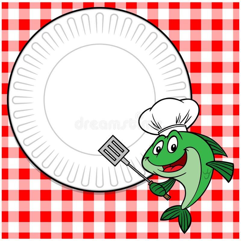 Fische Cookout laden ein lizenzfreie abbildung