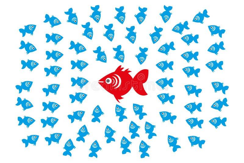 Fische in der Gruppen-Führung und im Management-Konzept lizenzfreie abbildung