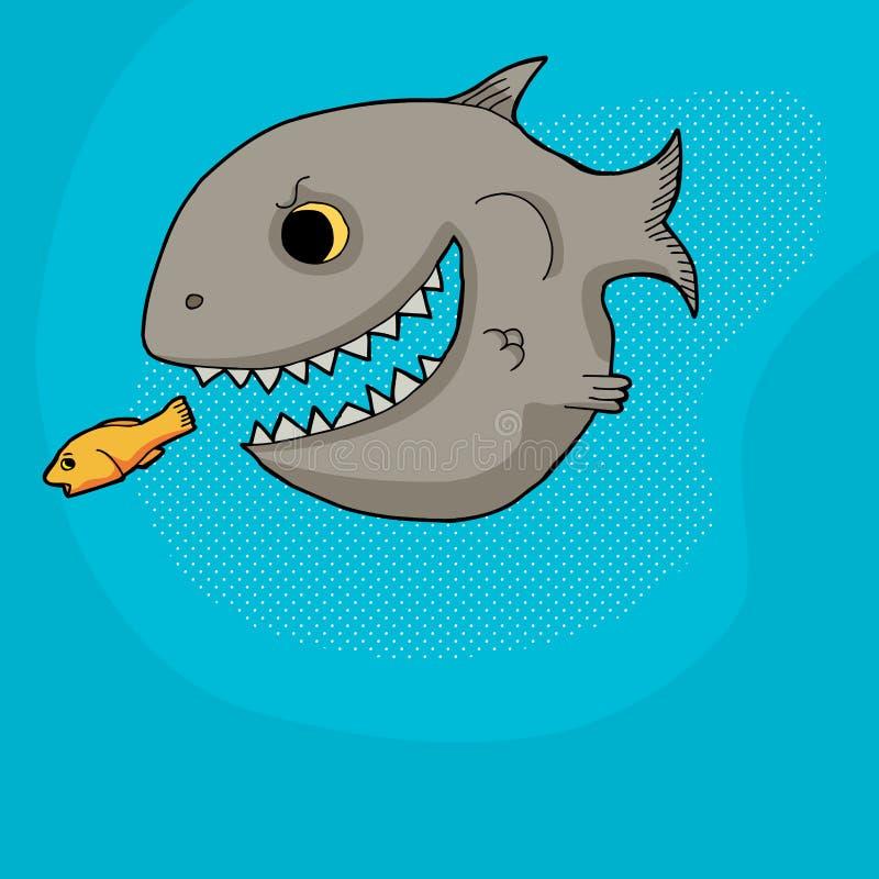 Fische, die Opfer jagen stock abbildung