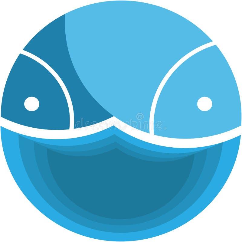 Fische in einem Kreis mit einer Welle stockbild