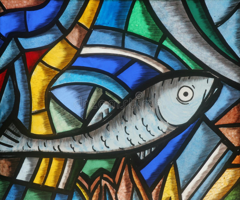 Fische - Icthus, altes christliches Symbol stockfotos