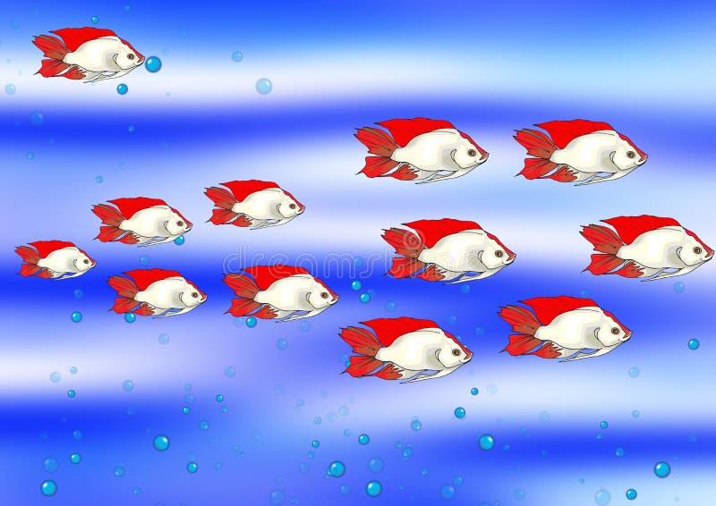 Fische im Blau lizenzfreie abbildung