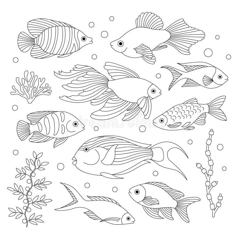 Fische im Stil des Gekritzels stock abbildung