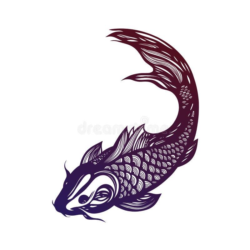 Fische Koi Carp Chinesisches Symbol des guten Glücks, des Mutes, der Ausdauer, der Ausdauer, der Klugheit und der Vitalität lizenzfreie abbildung