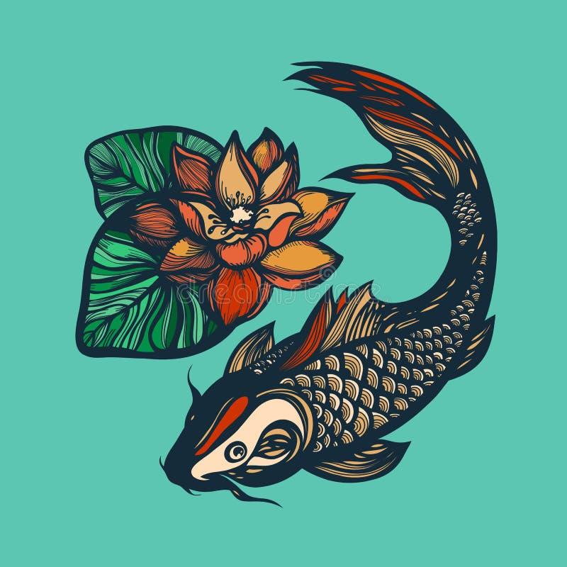 Fische koi und Lotosblume Chinesische Art des Druckes Chinesisches Symbol des guten Glücks, des Mutes, der Ausdauer, der Ausdauer lizenzfreie abbildung