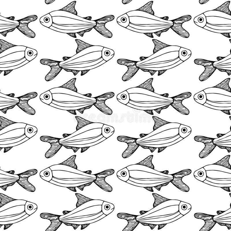 Fische kopieren den weißen lokalisierten Hintergrund lizenzfreie abbildung