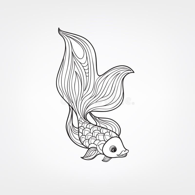 Fische lokalisiert Hand gezeichnete Gekritzellinie dekoratives Meeresflora und -fauna-BAC lizenzfreie abbildung