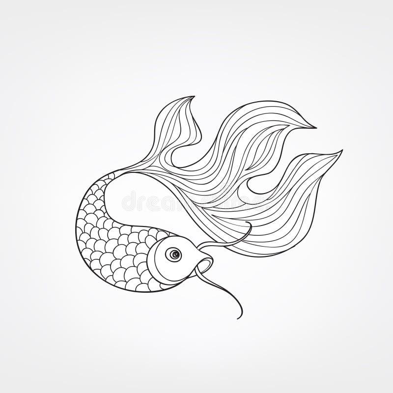 Fische lokalisiert Hand gezeichnete Gekritzellinie dekoratives Meeresflora und -fauna-BAC vektor abbildung