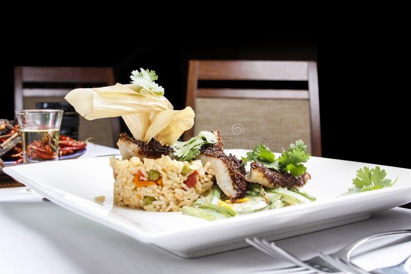 Fische mit dem Reis gedient auf moderne Art lizenzfreies stockbild