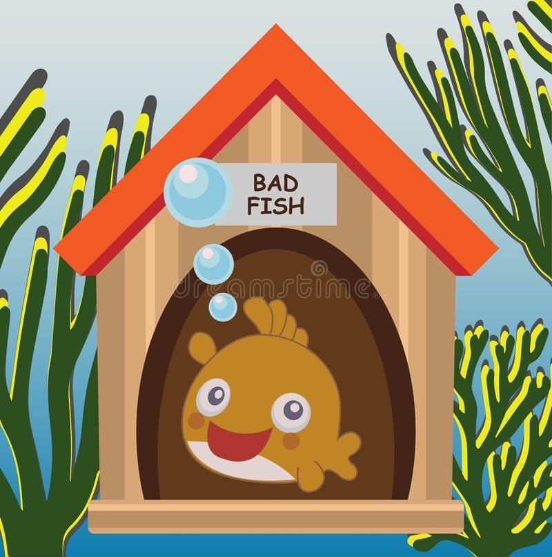 Fische in seinem Haus unter dem Meer lizenzfreie abbildung