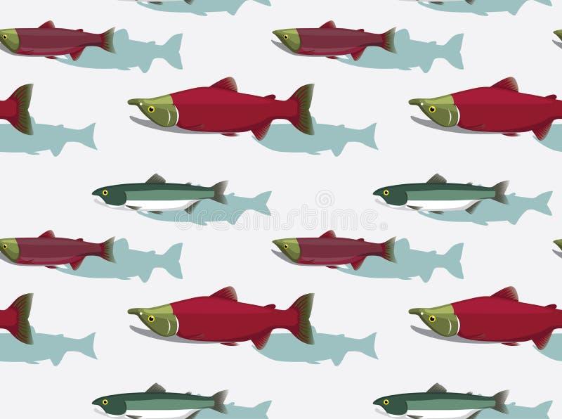 Fische Sockeye Salmon Cartoon Background Seamless Wallpaper lizenzfreie abbildung