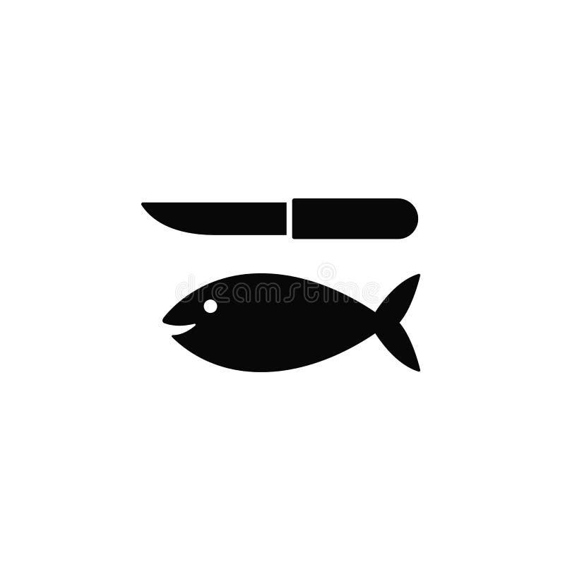 Fische und ein Messer, Ikone r Starke Linie Ikone für Website vektor abbildung