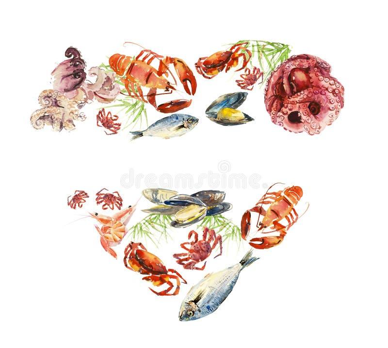 Fische und essbare Meerestiere menü Verschiedene Zusammensetzungen Gezeichnete Illustration des Aquarells Hand stock abbildung