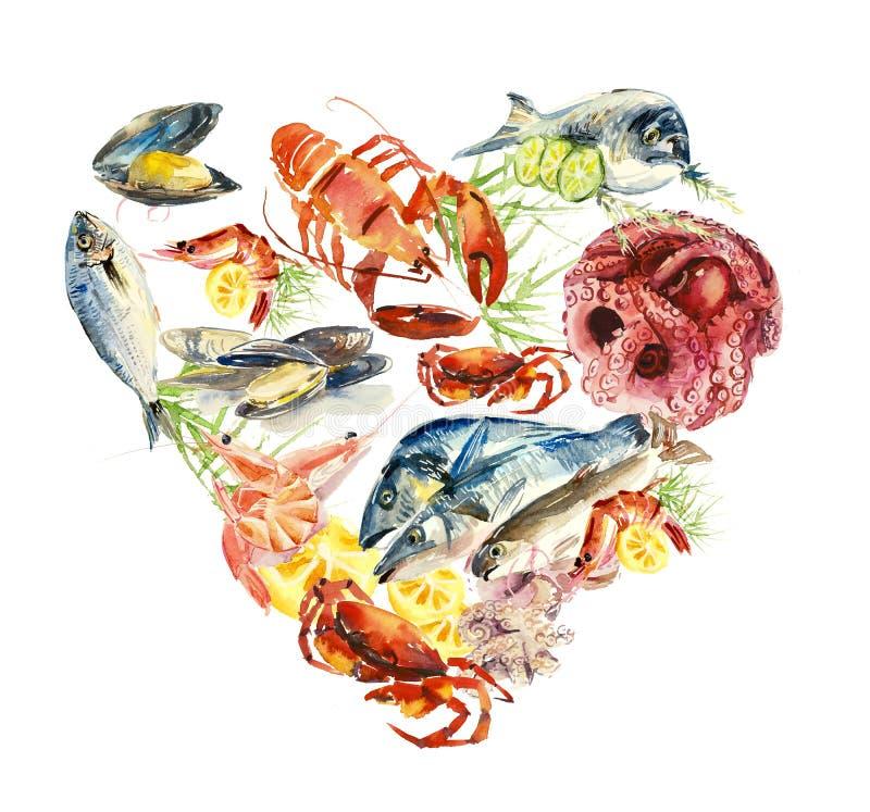 Fische und essbare Meerestiere menü Verschiedene Zusammensetzungen Gezeichnete Illustration des Aquarells Hand lizenzfreie abbildung