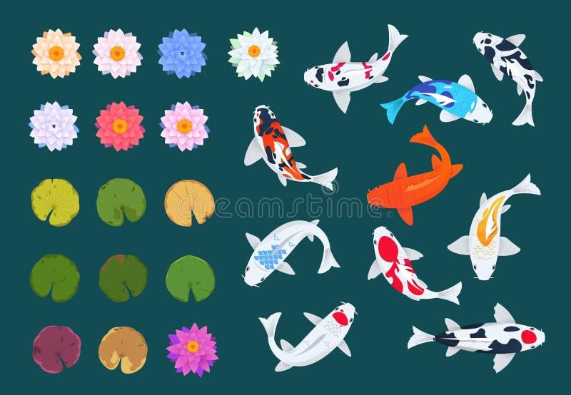 Fische und Lotos Koi Japanischer Karpfen, Blumen und Blätter von Seerosen Asiatischer traditioneller Vektorsatz Chinas lizenzfreie abbildung