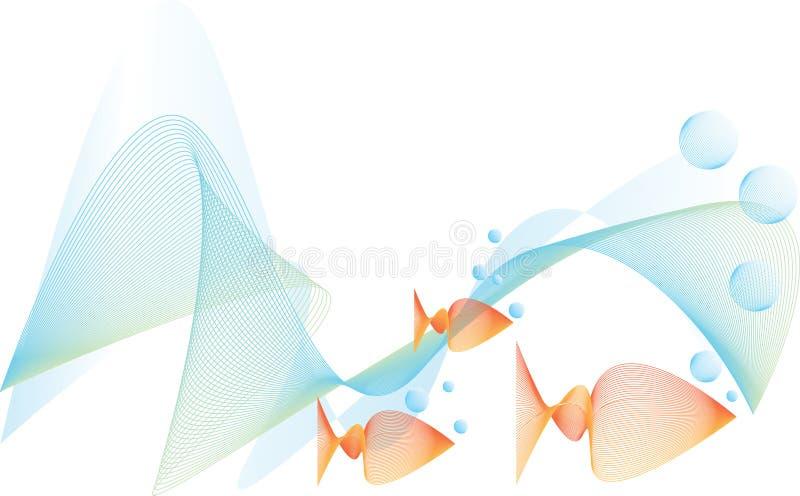 Fische unter Wasser mit Luftblasen stock abbildung