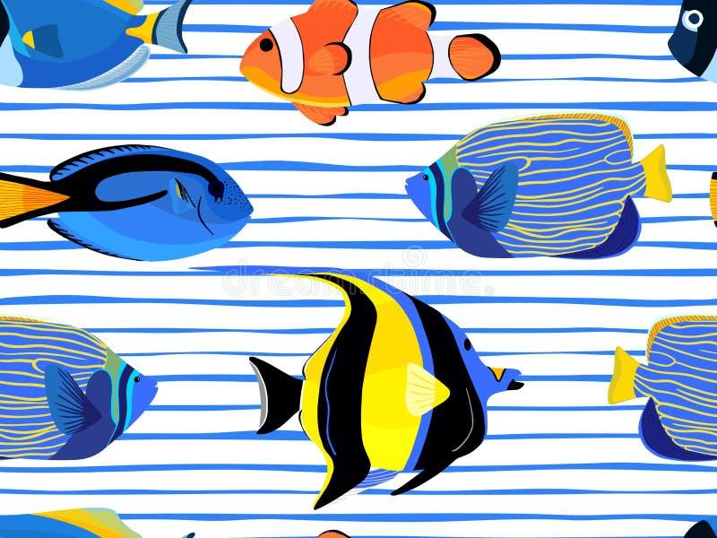 Fische Unterwasser mit nahtlosem Muster der Blasen auf Streifenhintergrund lizenzfreie abbildung