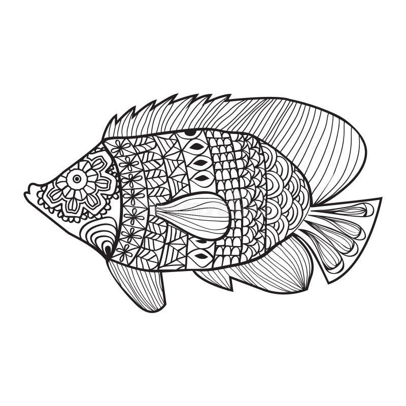 Fische Zentangle Artdesign Für Malbuch Vektor Abbildung ...