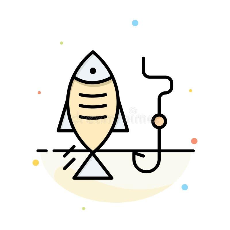 Fischen, Fisch, Haken, abstrakte flache Farbikonen-Schablone jagend stock abbildung