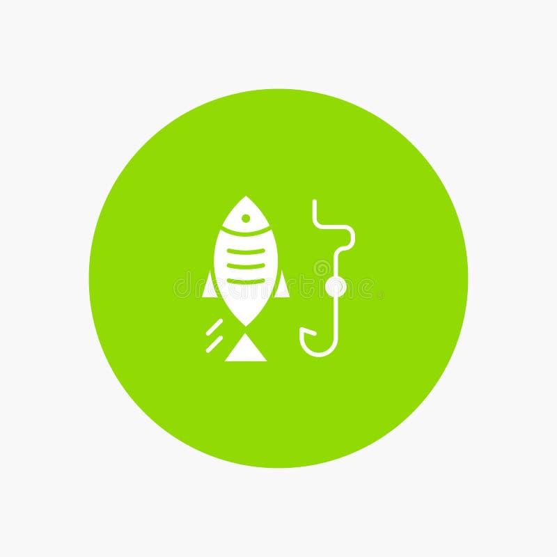 Fischen, Fisch, Haken, weiße Glyphikone jagend vektor abbildung