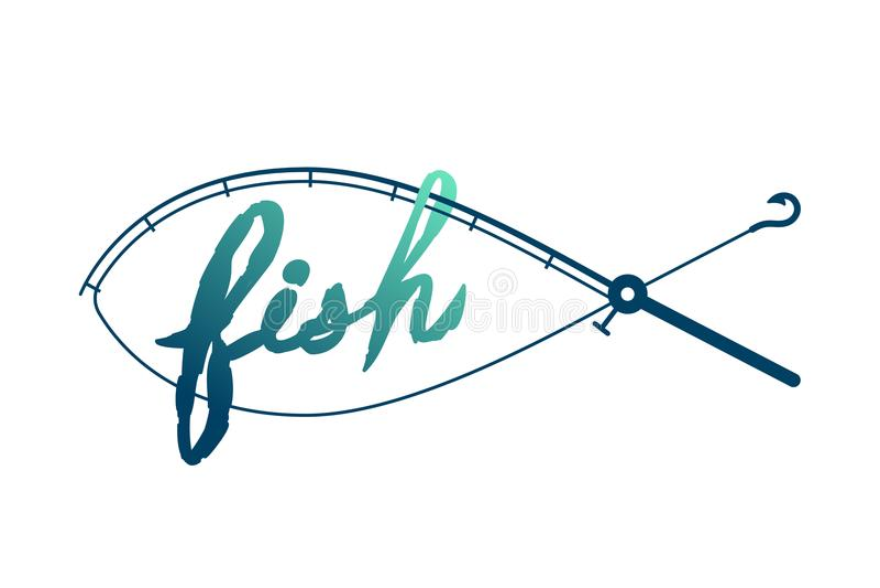 Fischen Sie die Form, die vom Angelrutenrahmen, von der grünen und dunkelblauen Steigungsfarbillustration des Logoikonenbühnenbil stock abbildung