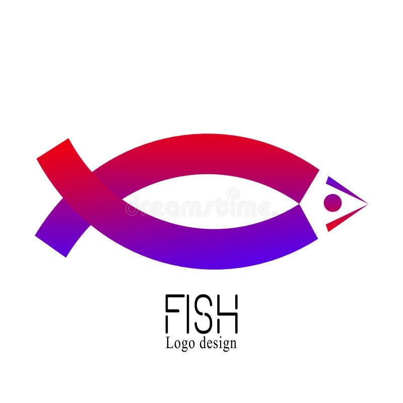 Fischen Sie kreatives Logo des Marktes, Logodesignschablone, Emblem, Aufkleber, Ausweis, die lokalisierte Ikone Buntes Firmenzeic lizenzfreie abbildung