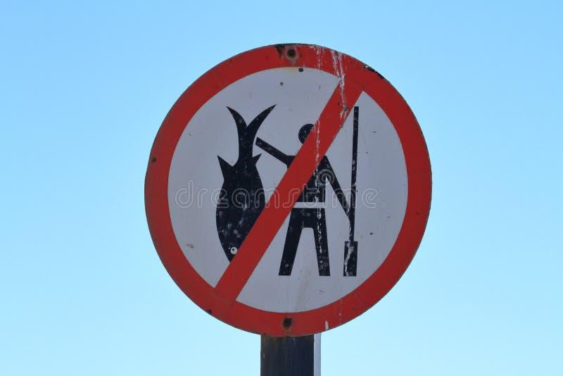 Fischen verboten in Swakopmund lizenzfreies stockfoto