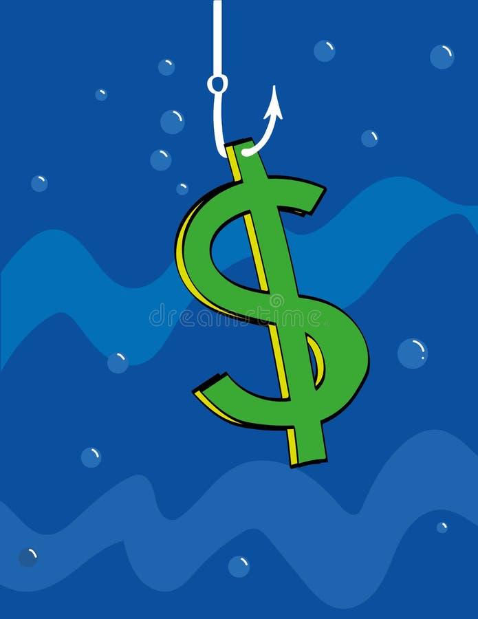 fischend für Dollar lizenzfreie abbildung