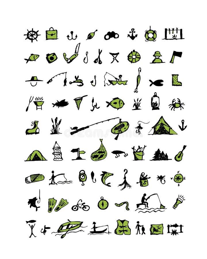 Fischenikonen, Skizze für Ihr Design stock abbildung