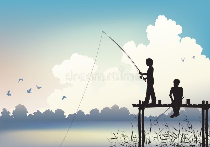 Fischenszene lizenzfreie abbildung
