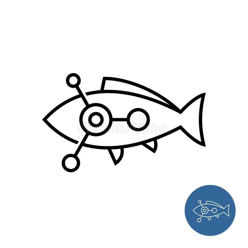 Fischentwurfsikone mit Wissenschaft oder chemischem molekularem Symbol nach innen stock abbildung