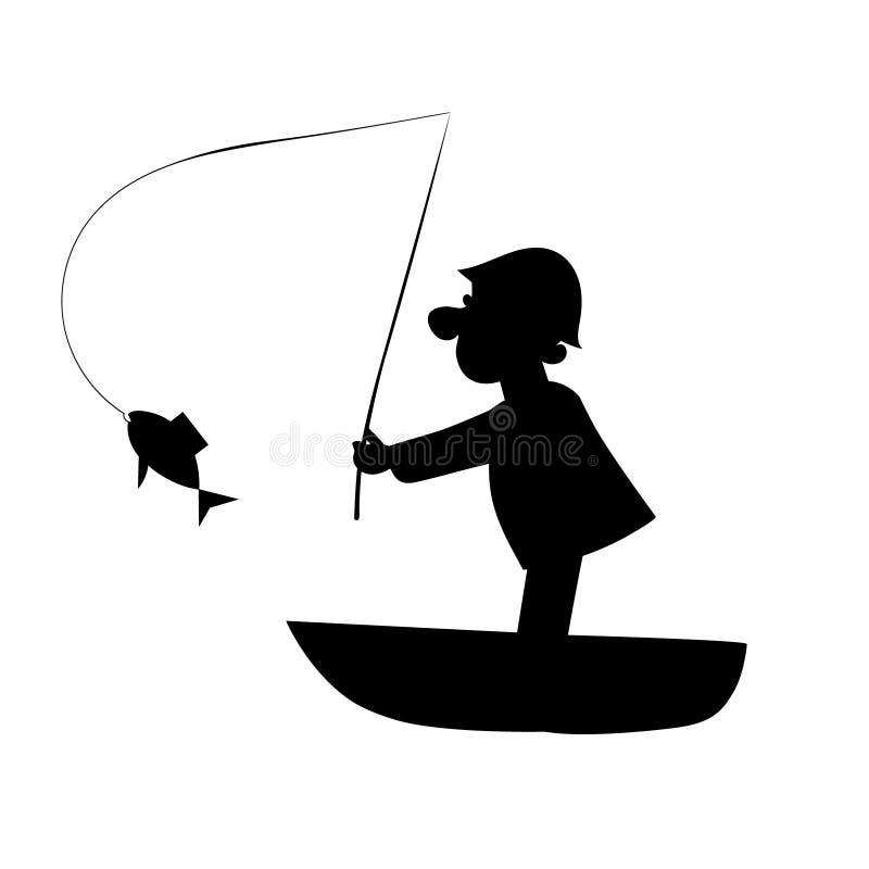 Fischer auf Bootsfangfischen Attraktive Frau, die auf einem Kasten sitzt vektor abbildung