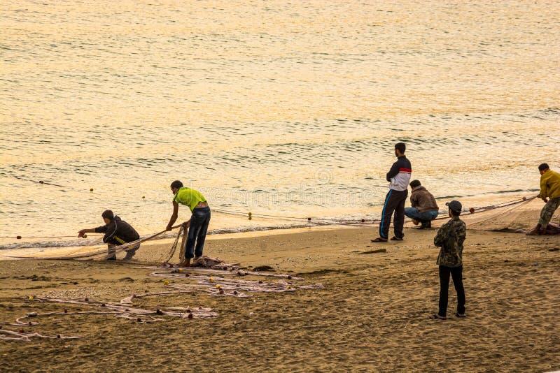 Fischer auf fangenden Fischen der Küste in den Netzen im Sonnenaufgang, MDiq, Marokko stockfotografie