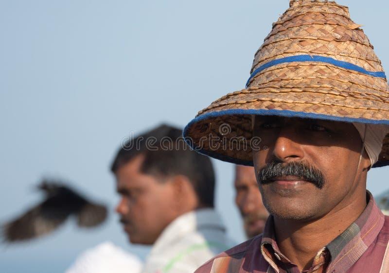 Fischer bei Mararikulam Kerala stockfotos