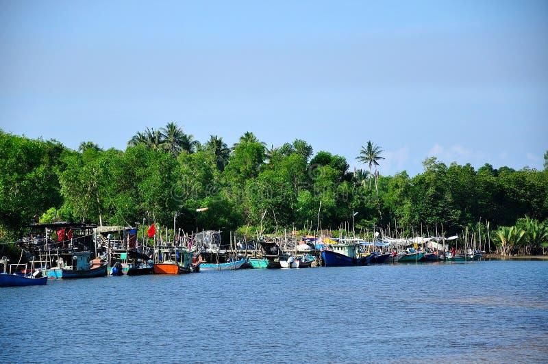 Fischer-Boote Merang-Anlegestelle lizenzfreie stockbilder