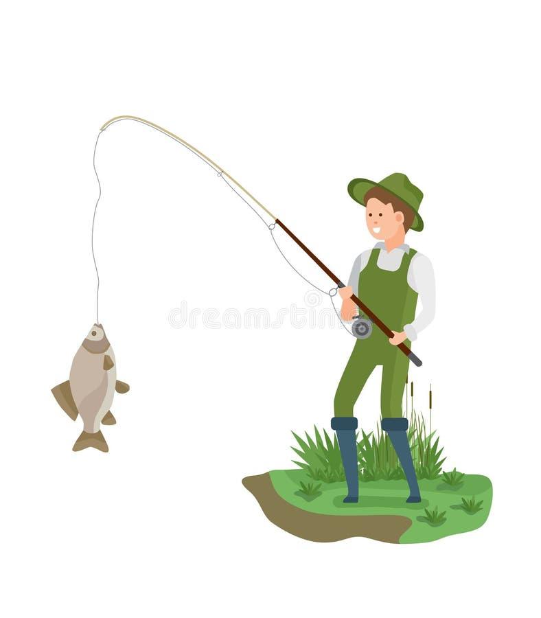 Fischer, der auf Bank in der Fischenkleidung, große Fische der Fänge steht vektor abbildung