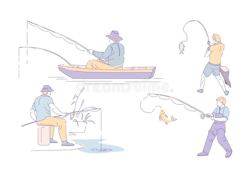 Fischer, der fangende Fische des Sports fischt und lokalisierte Charaktere angelt lizenzfreie abbildung